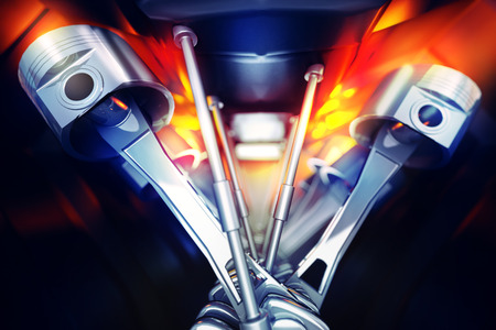 pistons: 3d illustration of car engine. Crankshafts and pistons of automobile motor internal view