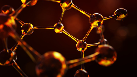 3d illustration of molecule model. Science background with molecules and atoms