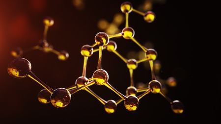 motor oil: 3d illustration of molecule model. Science background with molecules and atoms