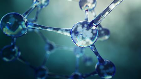 3D-afbeelding van molecuul model. Wetenschapsachtergrond met moleculen en atomen