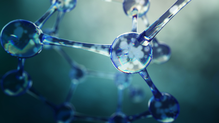 molecula de agua: 3d ilustración de modelo de la molécula. Fondo de la ciencia con las moléculas y átomos