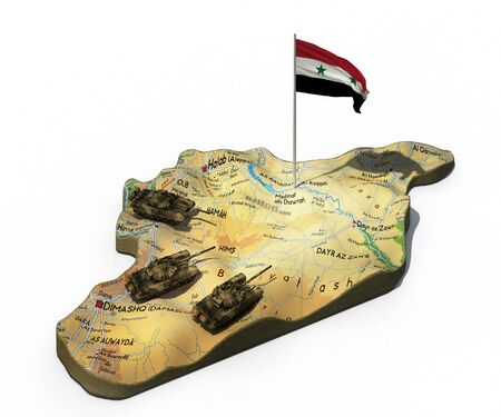 3d illustration of Syria map with tanks and flag isolated on white background