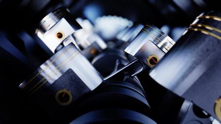 3d illustration of automobile motor with crankshafts and pistons Standard-Bild