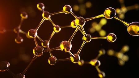 분자 모델의 3D 그림. 분자와 원자 과학 배경