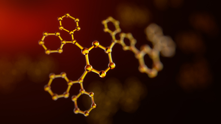 nanotechnology: 3d illustration of atoms connection. Molecule concept. Science background Stock Photo