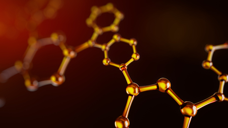 3d illustration of atoms connection. Molecule concept. Science background Stock Photo