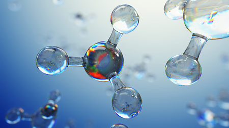 3d illustration of glass molecules. Atoms connection concept. Abstract science background