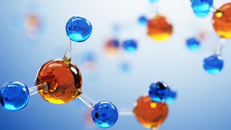 3d illustratie van molecule model. Wetenschap of medische achtergrond met moleculen en atomen. Stockfoto