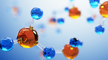 3d illustration of molecule model. Science or medical background with molecules and atoms. Stock Illustration - 75432015