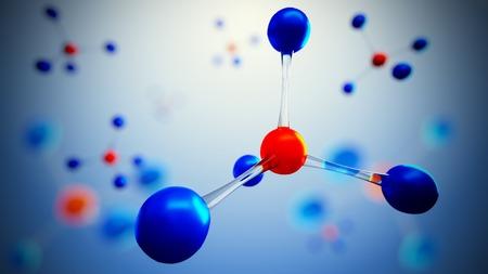 simbolo medicina: 3d ilustración de modelo de la molécula. Ciencia o fondo médico con moléculas y átomos. Foto de archivo