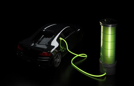 Illustration 3D de voiture électrique connectée à une grosse batterie. Concept de recharge automobile électrique.