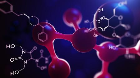3d illustratie van molecule model. Wetenschap of medische achtergrond met moleculen en atomen. Stockfoto - 85618299