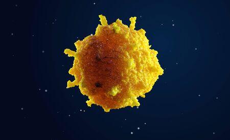 3d illustratie van cel onder microscoop. Leven en biologie, geneeskunde wetenschappelijk. Medische achtergrond