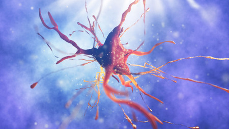 3d illustration of neural cell. Close up of neurone. Science concept.
