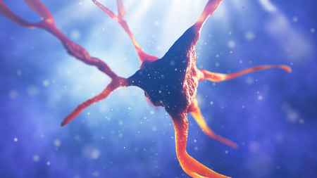 3d illustration of neural cell. Close up of neurone. Science concept. 版權商用圖片 - 86388278
