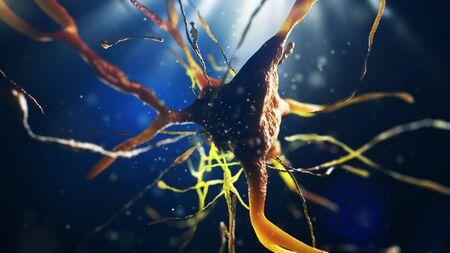 3D Darstellung der neuralen Zelle. Nahaufnahme von Neuronen. Wissenschaftskonzept. Standard-Bild