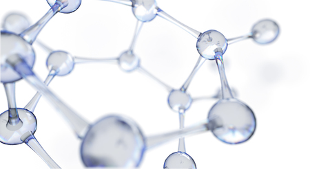 3d illustration of molecule model. Science or medical background with molecules and atoms. Banque d'images