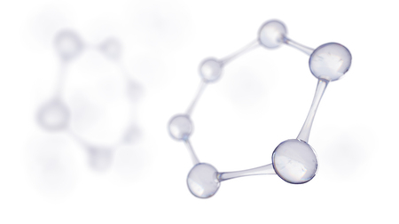 3d illustration of molecule model. Science or medical background with molecules and atoms. Stock Photo