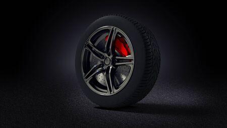 3D illustration of car rim and tyre standing on asphalt road Stock Photo