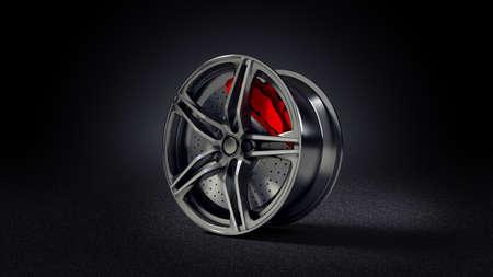 3D illustration of car rim standing on asphalt road Standard-Bild