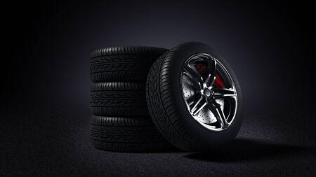 3D illustration of car rim and tyre standing on asphalt road Standard-Bild