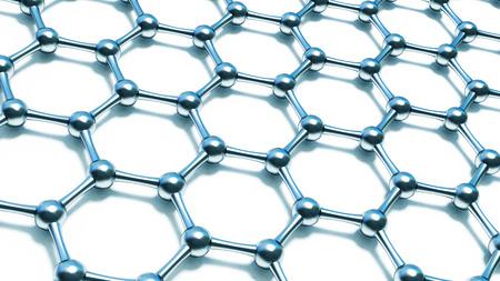 3d illusrtation of graphene molecules. Nanotechnology background illustration Stock Photo