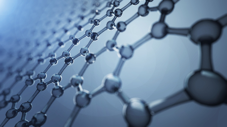 3d illusrtation of graphene molecules. Nanotechnology background illustration Stock Photo