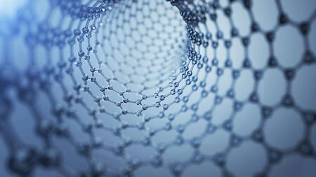 3d illusrtation of graphene molecules. Nanotechnology background illustration Banco de Imagens