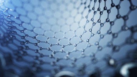 3d illusrtation of graphene molecules. Nanotechnology background illustration Imagens