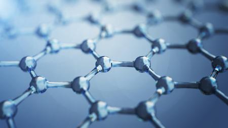 グラフェン分子の 3d illusrtation。ナノテクノロジー背景イラスト