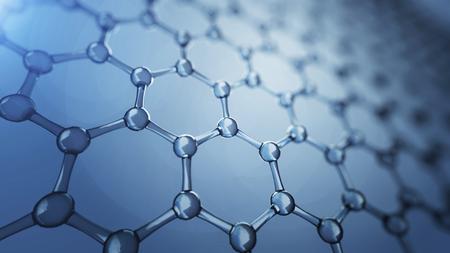 Illusrtation 3d de moléculas de grafeno. Ilustración de fondo de nanotecnología
