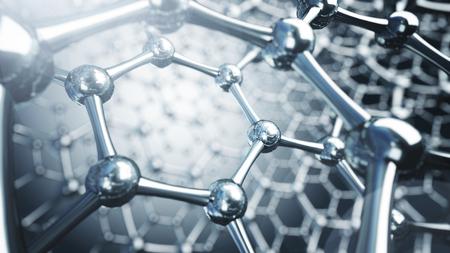 Illrtation 3D de molécules de graphène. Illustration de fond de nanotechnologie Banque d'images