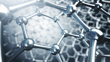 Illusrtation 3d de moléculas de grafeno. Ilustración de fondo de nanotecnología Foto de archivo