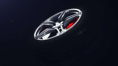 3D illustration of car rim standing on asphalt. Standard-Bild