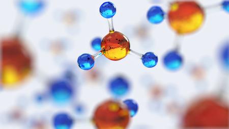 3D Darstellung der Molekül-Modell. Wissenschaft oder medizinischer Hintergrund mit Molekülen und Atomen.