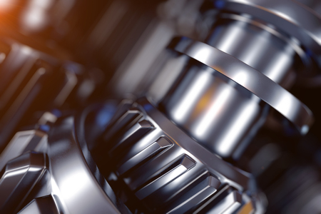 3d illustration of metal gear wheels close-up Stock Photo