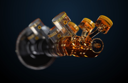 3D-Darstellung der Motor. Motorteile wie Kurbelwellen, Kolben in Bewegung