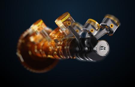 3d illustration of engine. Motor parts as crankshaft, pistons in motion