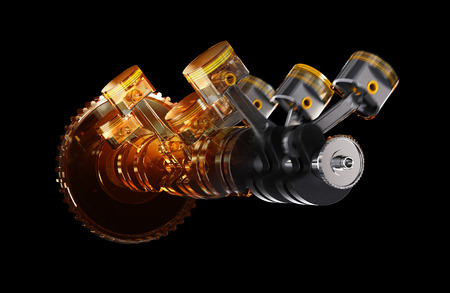 3d illustration of engine. Motor parts as crankshaft, pistons in motion