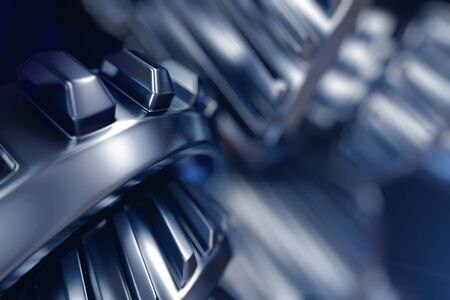 3d illustration of metal gear wheels close-up Standard-Bild