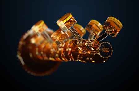3d ilustracja silnika. Części silnika jako wał korbowy, tłoki w ruchu Zdjęcie Seryjne