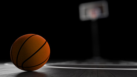 Basketball Arena with basketball ball. Stock Photo