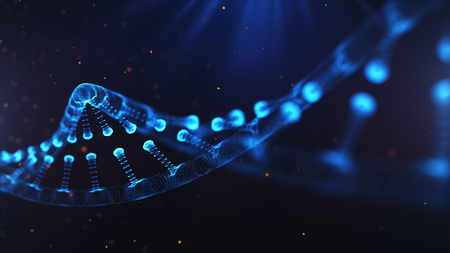 A particulate 3D rendered DNA on a blue bokeh background 版權商用圖片