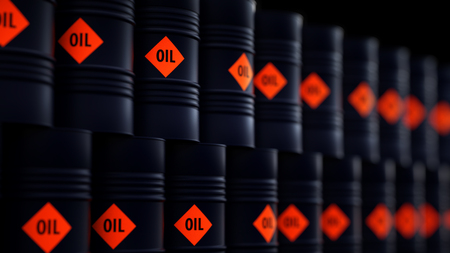 3d illustration of barrels with crude oil.