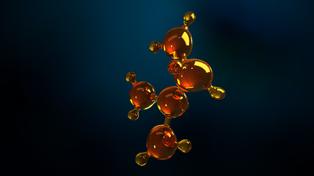 3d rendering illustration of glass molecule model. Molecule of oil. Concept of structure model motor oil or gas.