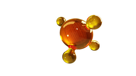 3d rendering illustration of glass molecule model. Molecule of oil. Concept of structure model motor oil or gas isolated on white. Zdjęcie Seryjne