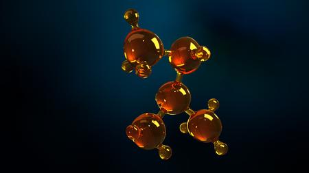 3d rendering illustration of glass molecule model. Molecule of oil. Concept of structure model motor oil or gas.