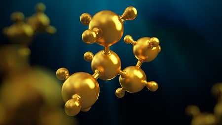 3D illustration of abstract gold metal molecule background.