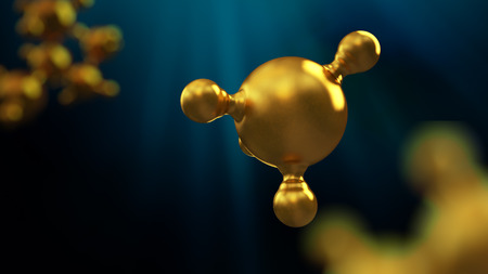 3D illustration of abstract gold molecule background