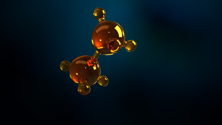 3d rendering illustration of glass molecule model. Molecule of oil. Concept of structure model motor oil or gas. Zdjęcie Seryjne - 107262628